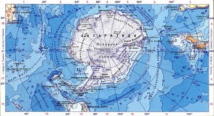 Антарктика на карте мира