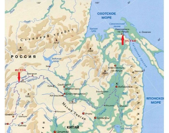 Исток и устье реки Амур