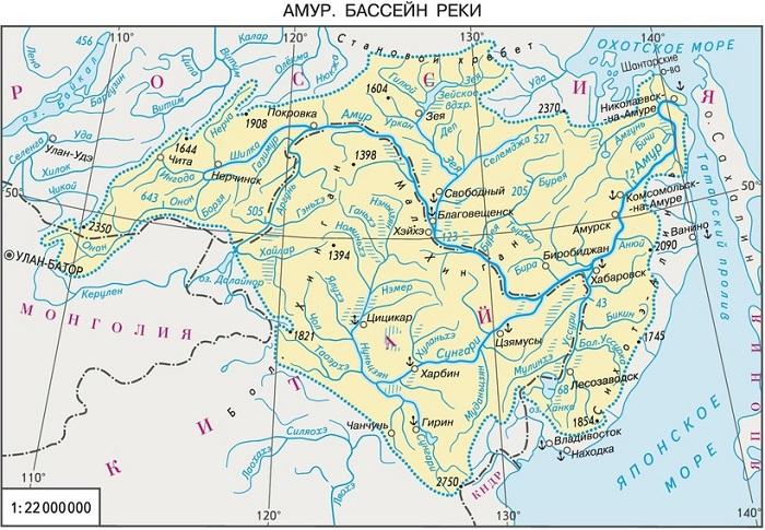Река Амур на карте России Где находится исток устье фото описание длина глубина направление течения с городами протяженность куда впадает