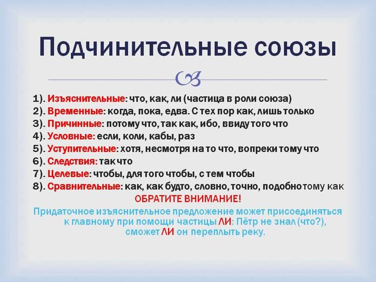 Список подчинительные союзы таблица