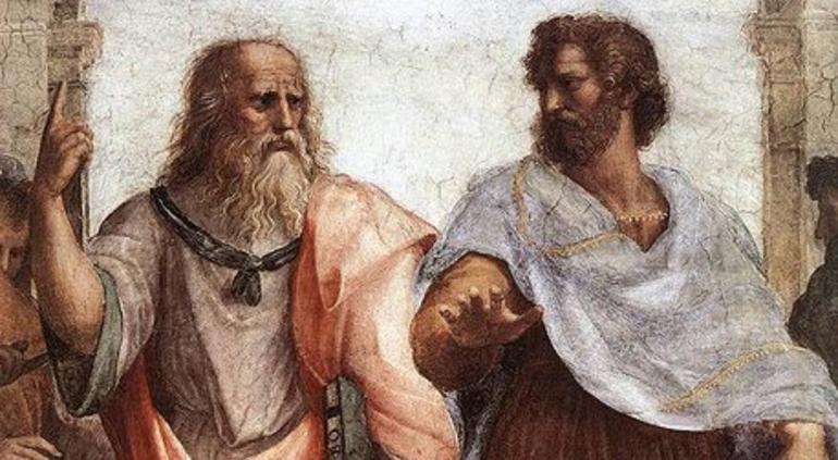 Древнегреческий философ Платон и его ученик Аристотель