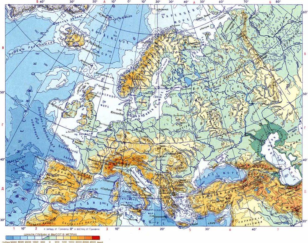 Физическая карта Европы