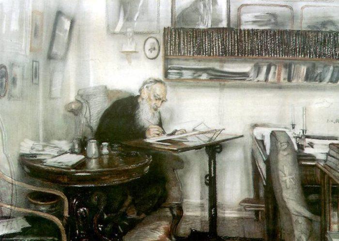 В.Н. Мешков. Л. Н. Толстой в яснополянской библиотеке. 1910