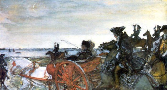 Екатерина II на соколиной охоте. Картина В. Серова.
