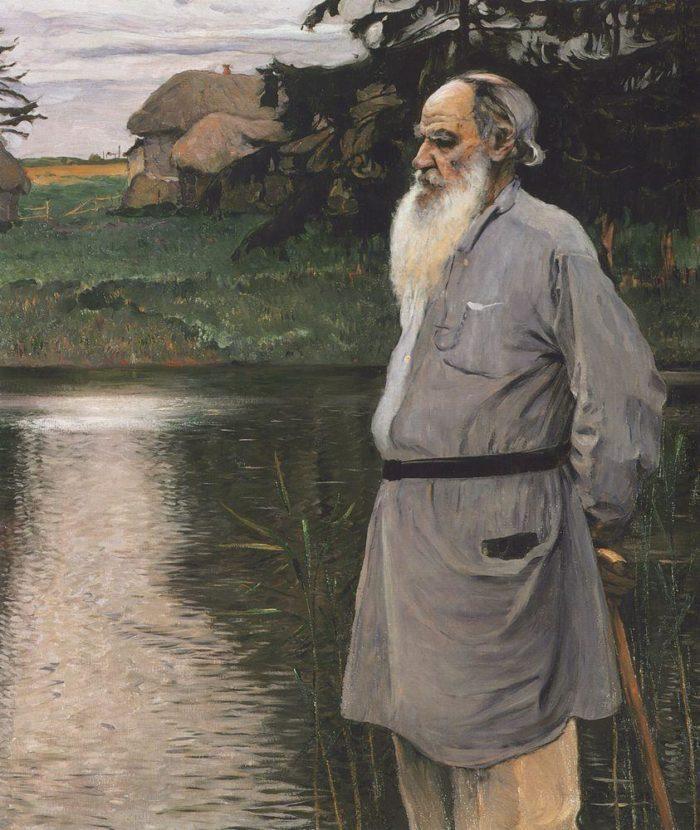 М.В.Нестеров. Портрет Л.Н.Толстого. 1907. Хост. Масло.