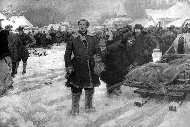 Рис. 3. Михаил Ломоносов прибывает в Москву