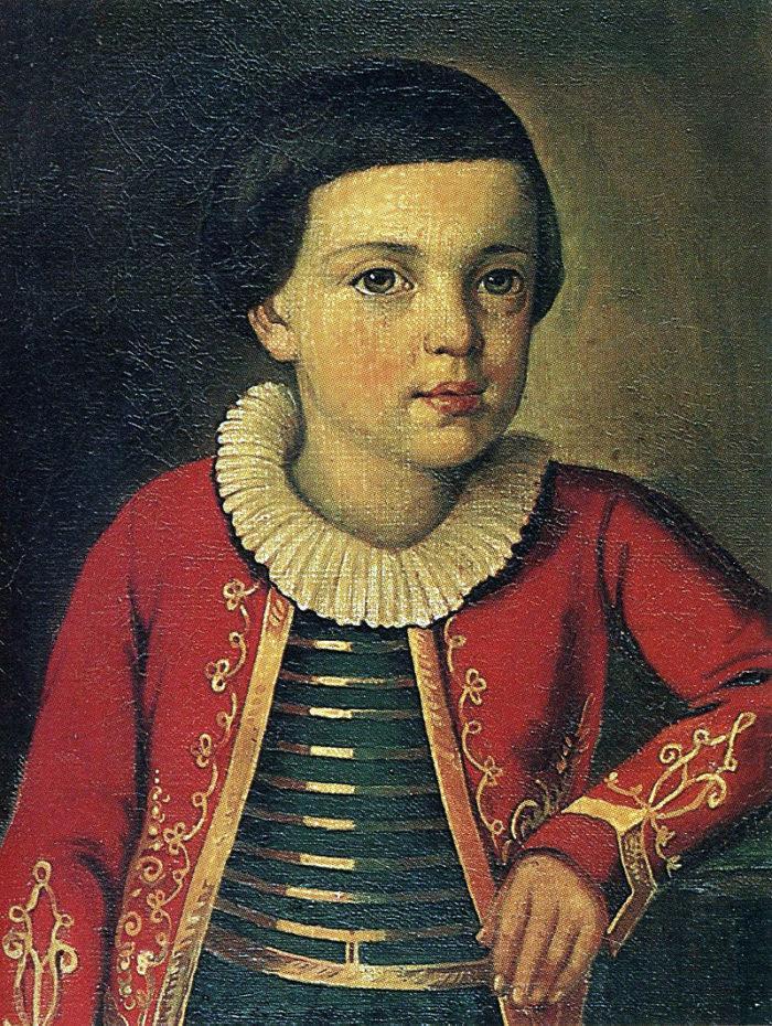 Рис. 2. М. Ю. Лермонтов в возрасте 6—9 лет. П. Заболотский. 1837 год