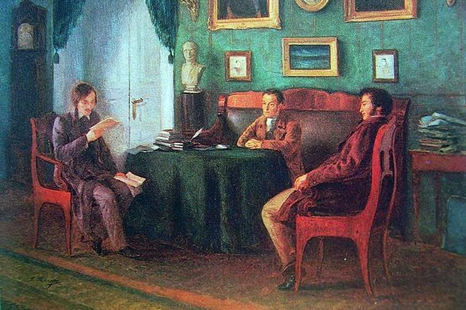 Рис. 5. Николай Гоголь, Александр Пушкин и Василий Жуковский