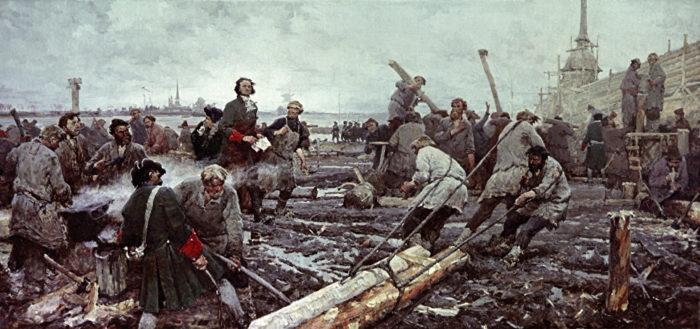 Рис. Петр I на строительстве Санкт-Петербурга. Г. Песис. 1958 год