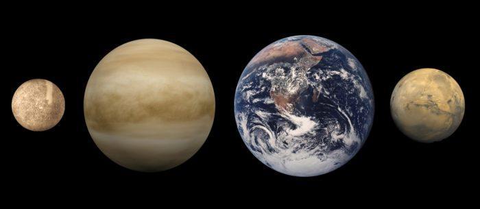 Рис. 3. Сопоставление размеров планет земной группы (слева направо): Меркурий, Венера, Земля, Марс