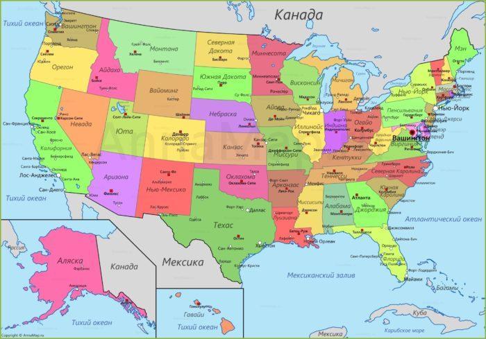 Рис. 1. Политическая карта США
