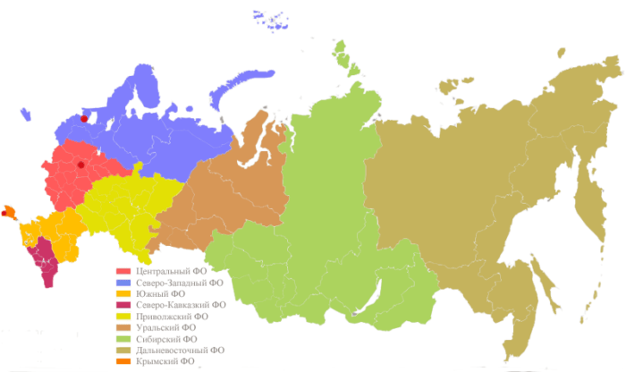 Рис. 1. Федеральные округа Российской Федерации