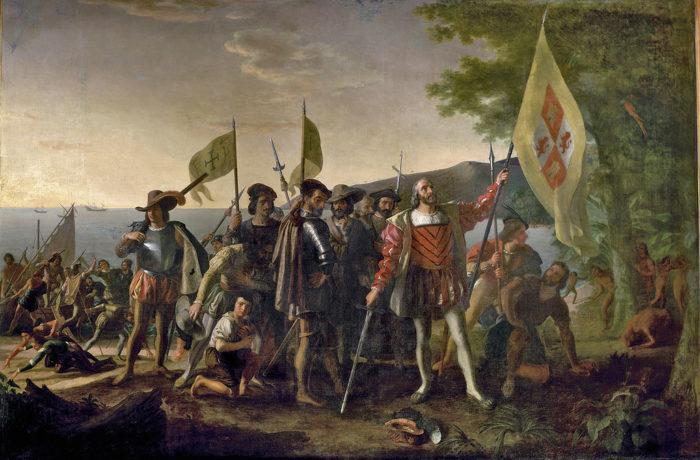 """Рис. 4. """"Высадка Колумба в Америке"""". Д. Вандерлин. 1842 год"""