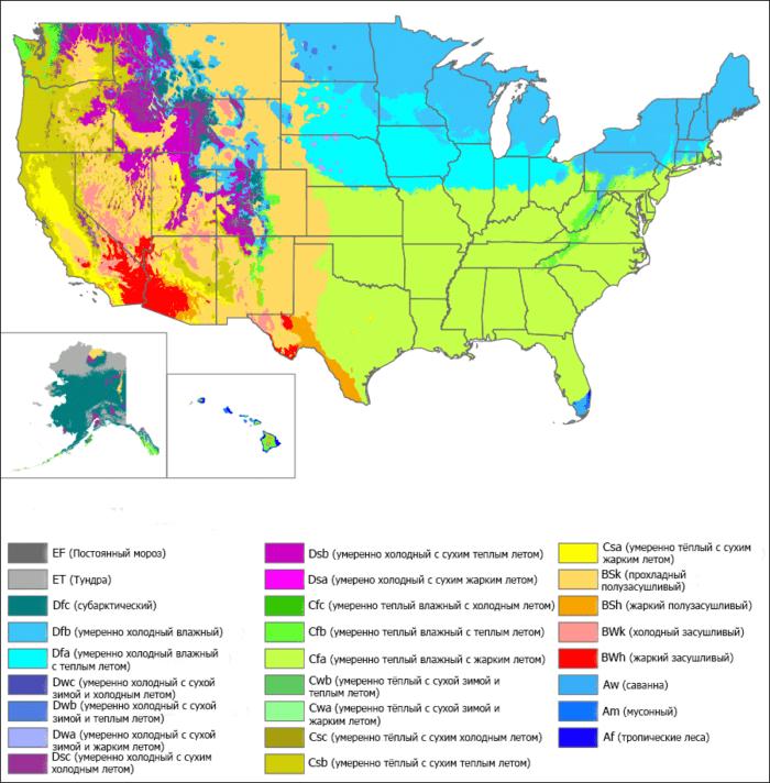 Рис. 2. Климатические зоны США