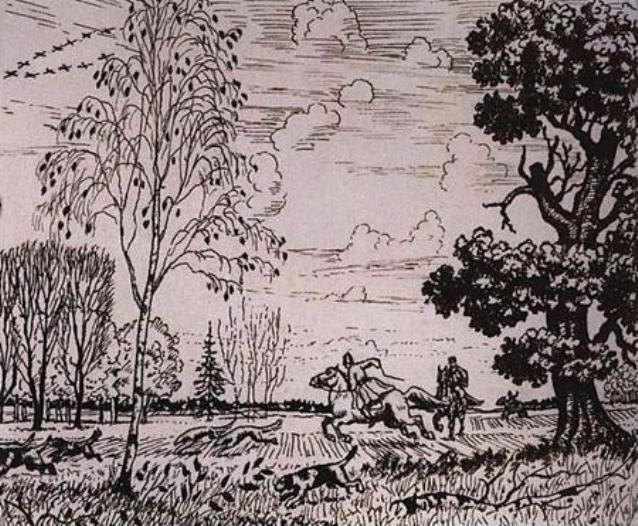 Рис. 2. Охота. Б. М. Кустодиев. 1919 год