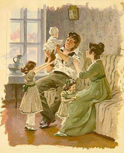 Рис. 3. Пьер и Наташа с детьми. А. В. Николаев. 1971-1975 гг.