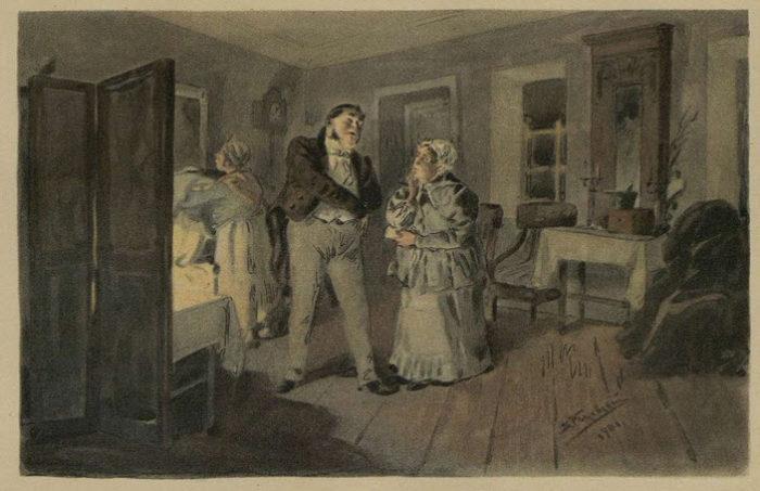 Рис. 2. Чичиков и Коробочка в гостиной Коробочки. В. Е. Маковский, 1901 год