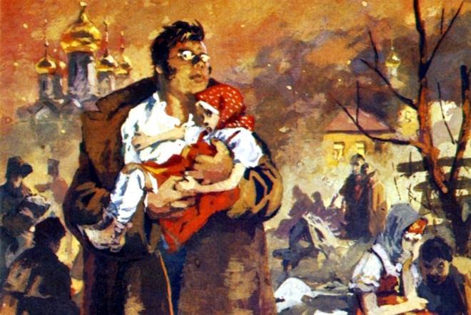 Рис. 3. Пьер Безухов спасает девочку в сожженной Москве
