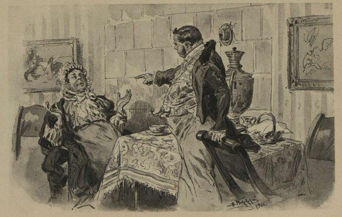 Рис. 3. Чичиков и Коробочка. В. Е. Маковский, 1901 год