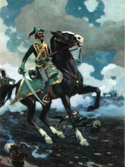 Рис. 5. Денисов на коне. Алексей Николаев