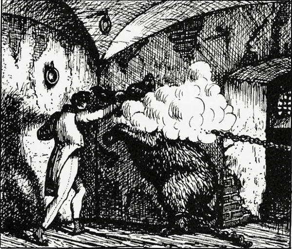 Рис. 4. Дефорж и медведь. Б. М. Кустодиев. 1919 год