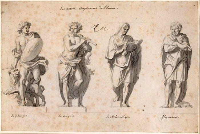 Темпераменты - эскиз статуй XVII века. Шарль Лебрён