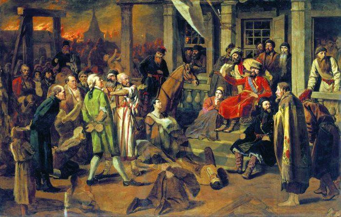 Суд Пугачева. Художник В. Перов, 1870-е