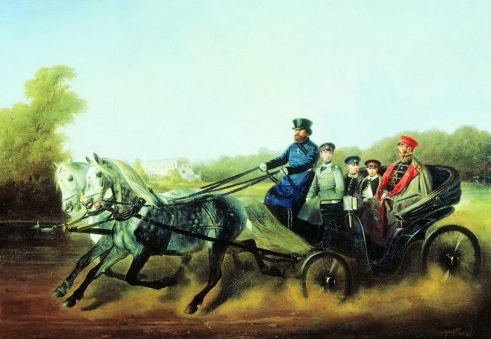 Рис. 6. «Катание в коляске Александр II с детьми». Н.Е. Сверчков