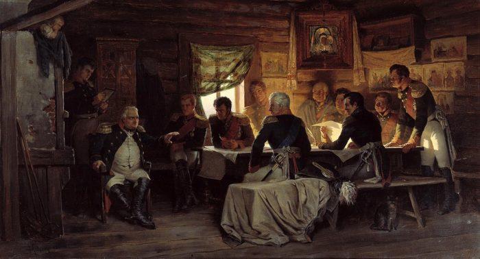 Рис. 3. Военный совет в Филях. А. Д. Кившенко. 1880 год