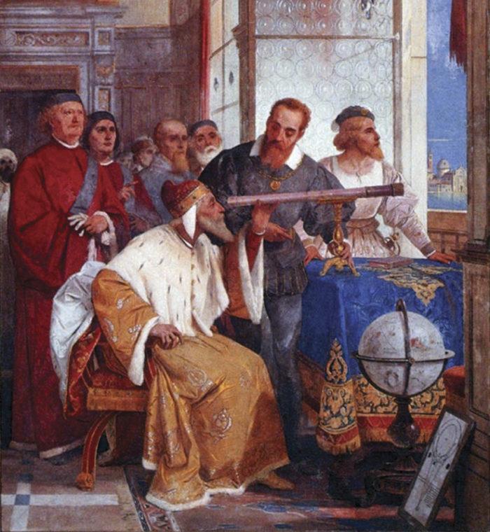Рис. 2. Галилей показывает телескоп венецианскому дожу (фреска Дж. Бертини)