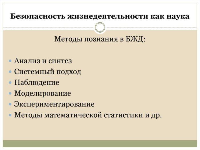 Рис. 4. Методы познания в БЖД