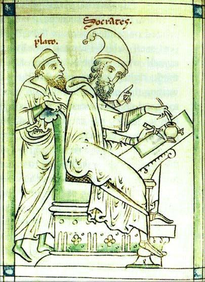 Рис. 3. Платон и Сократ. Средневековая фреска