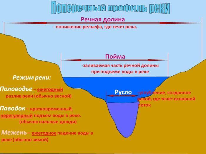 Рис. 2. Поперечный профиль реки