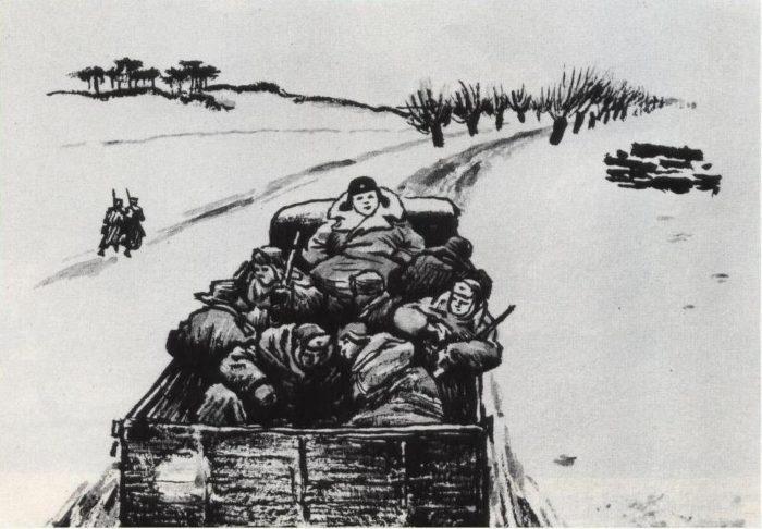 Рис. 4. Попутная машина. О. Верейский. 1943-46 гг.