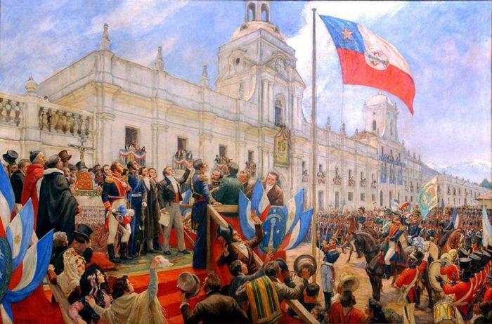 """Рис. 5. """"Провозглашение независимости Чили"""". П. С. Эрразуриза. 1945 год"""