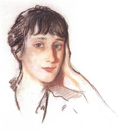 Рис. 1. Анна Ахматова. Портрет работы З. Е. Серебряковой. 1922 год