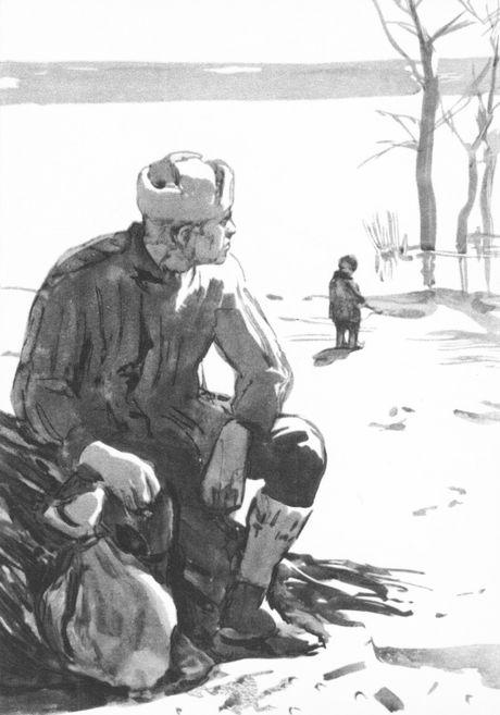 Рис. 1. Иллюстрации к повести М. Шолохова Судьба человека. Кукрыниксы