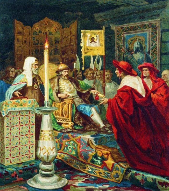 Рис. 1. Князь Александр Невский принимает папских легатов. Генрих Семирадский. 1876 год