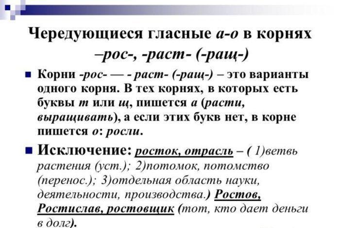 """Рис. 1. Правило написания """"раст"""" и """"рост"""""""