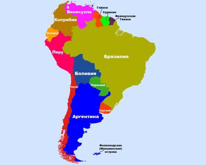 Рис. 1. Страны Южной Америки