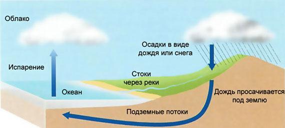 Рис. 1. Схема круговорота воды в природе