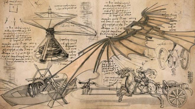 Рис. 10. Чертежи и наброски некоторых изобретений Леонардо да Винчи