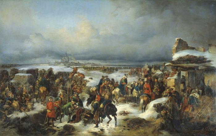 Рис. 2. Взятие крепости Кольберг в ходе Семилетней войны. А. Коцебу. 1852 год