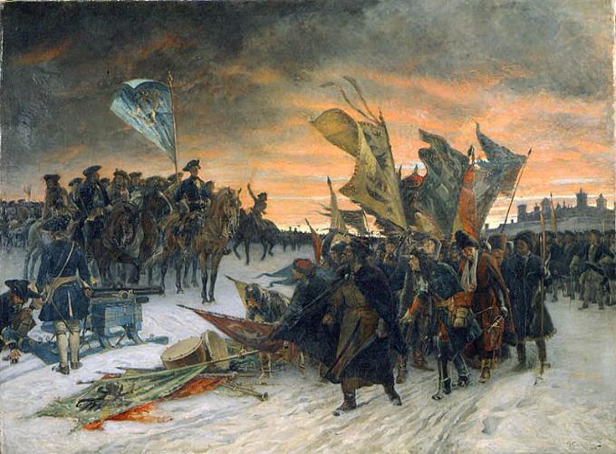 Рис. 4. «Победа шведов в битве при Нарве, 1700». Густав Седерстрем. 1910 год