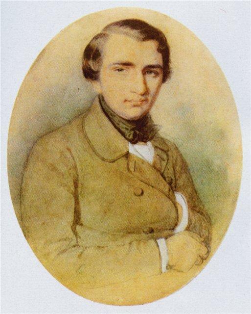 Рис. 2. Иван Тургенев в молодости. Рисунок К. А. Горбунова. 1838 год