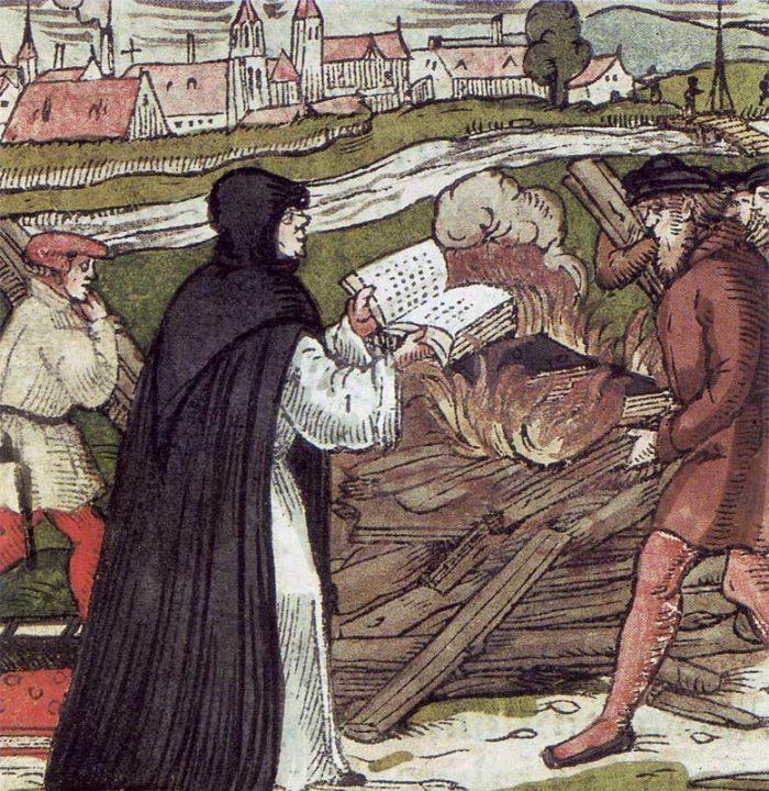 Рис. 2. Мартин Лютер сжигает папскую буллу. Гравюра на дереве. 1557 год