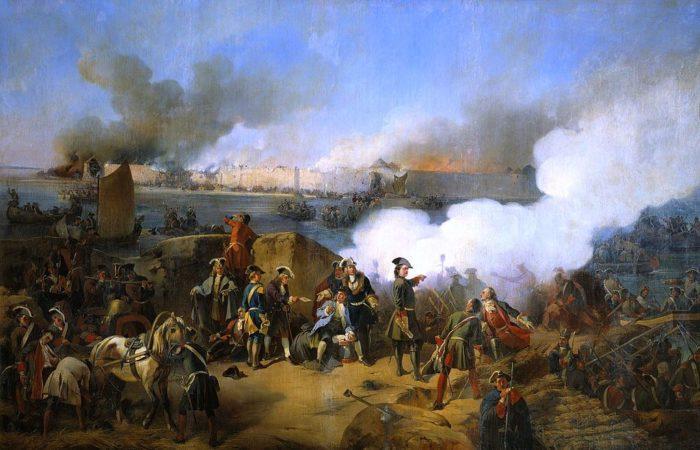 Рис. 3. «Штурм крепости Нотебург 11 октября 1702 года». А. Е. Коцебу. 1846 год