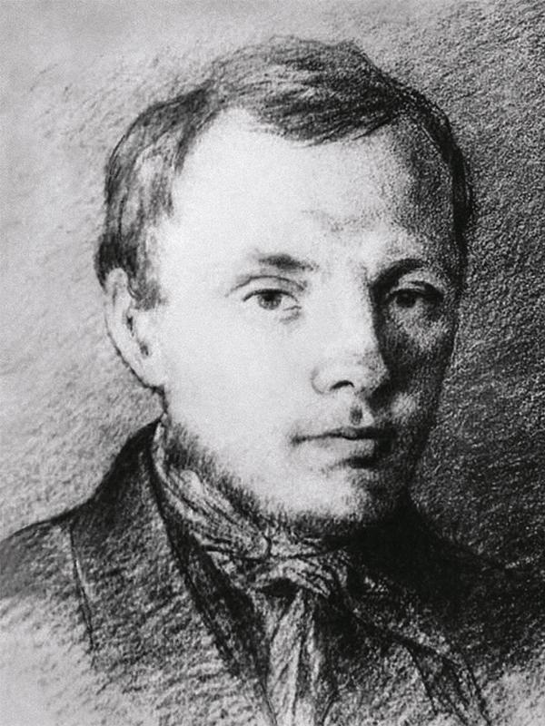 Рис. 3. Достоевский в 26 лет. Рисунок К. Трутовского. 1847 год