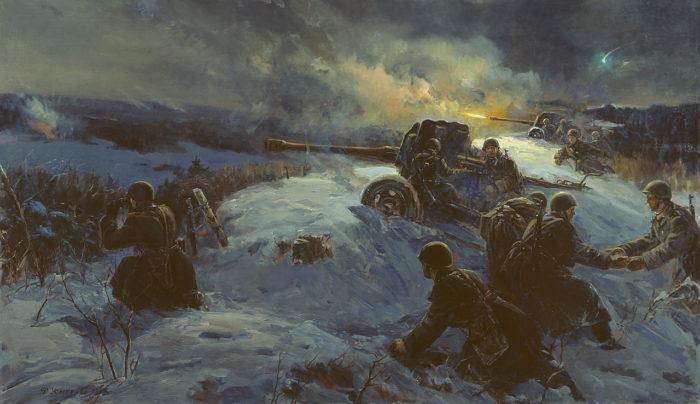 Рис. 3. Ночной бой. Автор Ф. П. Усыпенко