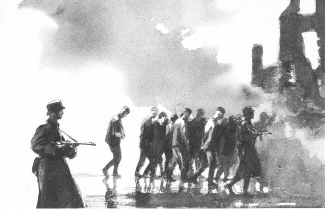 Рис. 4. Иллюстрации к повести М. Шолохова Судьба человека. Кукрыниксы